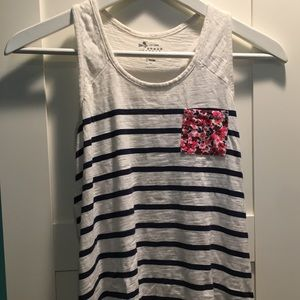 Navy and white striped tank with floral pocket
